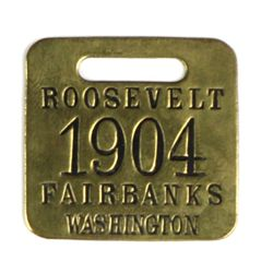 Presidential advertising watch fob in brass