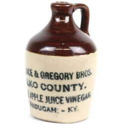 Antique advertising miniature jug front stamped