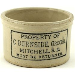 Antique adv butter Crock C. Burnside Grocer