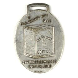 Antique advertising watch fob front marked Old