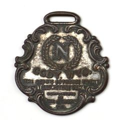Antique advertising watch fob, back marked The