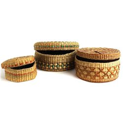 Collection of 3 vintage woven lidded baskets