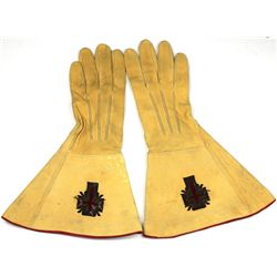 Pair early Masonic leather gauntlets