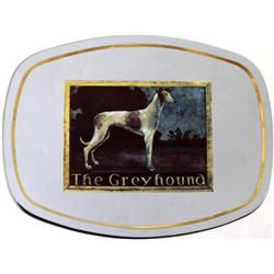 Greyhound Bus Company advertising glass tray