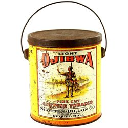 "Light Ojibwa tobacco tin 6"" tall with original lid"