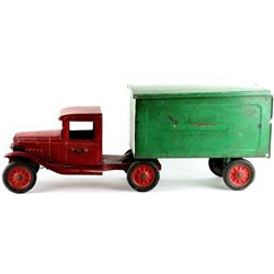 C. 1920's Buddy L press tin toy truck Railway