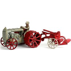 Antique cast iron Arcade Fordson tractor and plow