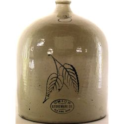 Antique crock jug the front marked 3, Union