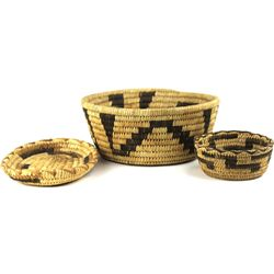 Collection of 3 Papago baskets