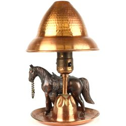 Vintage copper horse lamp with original copper
