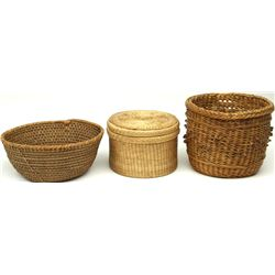 Collection of 3 Native American woven baskets