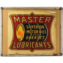 Antiqe Master Lubricants decal in old frame