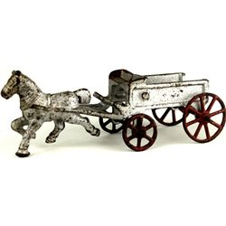 Antique cast iron horse and wagon childs toy