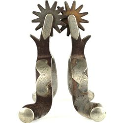 Pair Crockett spurs mustache pattern