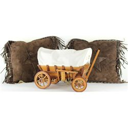 Collection of 3 includes 2 western leather pillows