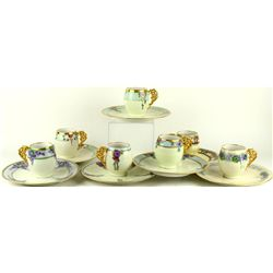 Set of 6 hand painted Limoges tea cups and