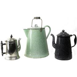 Collection of 3 antique coffee pots includes