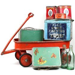 Collection of 6 includes vintage toy wagon