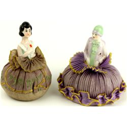 Collection of 2 Victorian pin cushion dolls