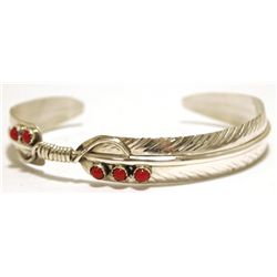 Navajo Coral Sterling Silver Feather Cuff Bracelet - Chris Charley