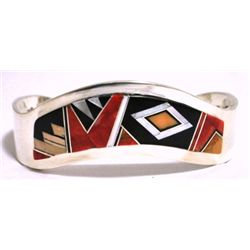 Navajo Multi-Stone Inlay Sterling Silver Cuff Bracelet - EPB