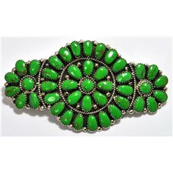 Navajo Green Turquoise Cluster Sterling Silver Hair Barrette - Juliana Williams