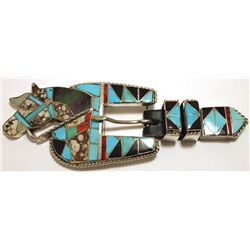 Old Pawn Zuni Multi-Stone Inlay Horse Sterling Silver Ranger Buckle - Helen & Lincoln Zunie