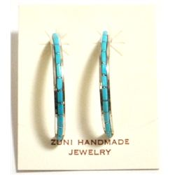 Zuni Turquoise Sterling Silver Half-Ring Post Earrings