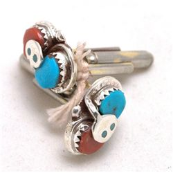 Zuni Coral and Turquoise Snake Cufflinks - Effie Calavaza