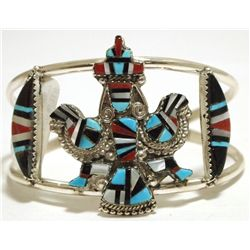 Zuni Multi-Stone Inlay Knifewing Kachina Sterling Silver Cuff Bracelet - Herbert Cellicion
