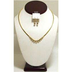 Dead Pawn Non-Native Diamond 14k Gold Necklace & Earrings Set - MWI?