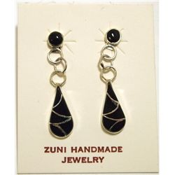 Zuni Onyx Inlay Sterling Silver Teardrop Post Earrings - Sarah Bawani