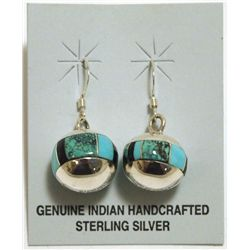 Zuni Turquoise & Onyx Inlay Sterling Silver Sphere French Hook Earrings - Edison Yazzie