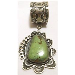 Old Pawn Navajo Green Mountain Turquoise Sterling Silver Pendant - Kirk Smith
