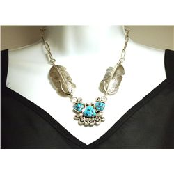 Navajo Sleeping Beauty Turquoise Sterling Silver Feather Necklace - Vivian Jones