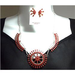 Zuni Coral Sterling Silver Necklace & Earrings Set - Fadrian & Vivica Bowannie