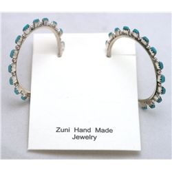 Zuni Turquoise Dotted 3/4 Ring Earrings