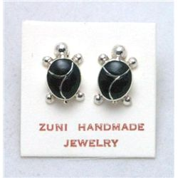 Zuni Onyx Turtle Earrings - Vernon Waikaniwa