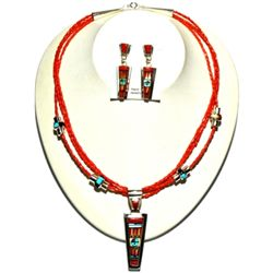 Zuni Coral Necklace & Earrings Set - Raylan & Patty Edaakie