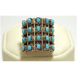 Zuni Turquoise Dots Sterling Silver Women's Ring - Lorene Tucson
