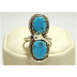 Zuni Turquoise Sterling Silver Snake Women's Ring - Effie Calavaza