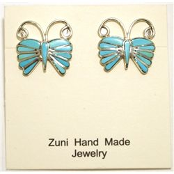 Zuni Turquoise Inlay Sterling Silver Butterfly Post Earrings - Emma Edaakie