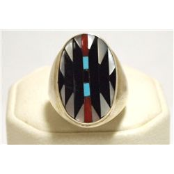 Zuni Multi-Stone Inlay Sterling Silver Men's Ring - Charlotte Dishta