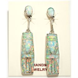 Zuni White/Pink Opal Inlay Sterling Silver Post Earrings - Phyllis Lucio