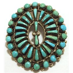 Old Pawn Navajo Turquoise Sterling Silver Pendant & Pin - MCH