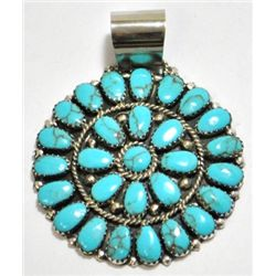 Navajo Turquoise Cluster Sterling Silver Pendant - Juliana Williams