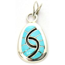 Zuni Turquoise Small Oval Pendant - Amy Quandelacy