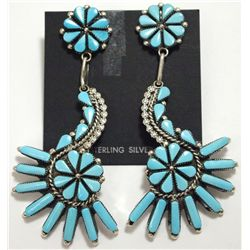 Zuni Turquoise Sterling Silver Post Earrings - Augustine Pinto