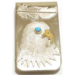 Navajo Turquoise Sterling Silver Eagle Head Money Clip - Betty Thomas