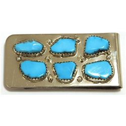 Zuni Turquoise Sterling Silver Money Clip - Curt Cheama